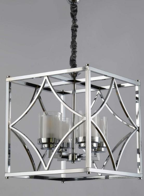 lampadario cubico metallo cromato