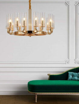 lampadario salone moderno colo oro molto grande