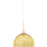 lampadario a sospensione con sfera oro e attacco al soffitto color oro rosa