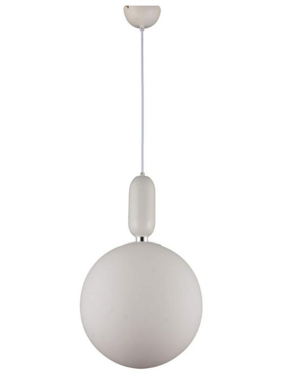 lampadario a sfera di vetro colore bianco