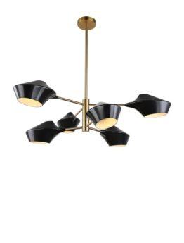 lampada nera vintage soffitto 6 luci