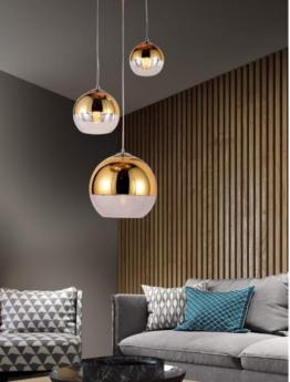lampadario tre luci oro a sospensione con altezza regolabile
