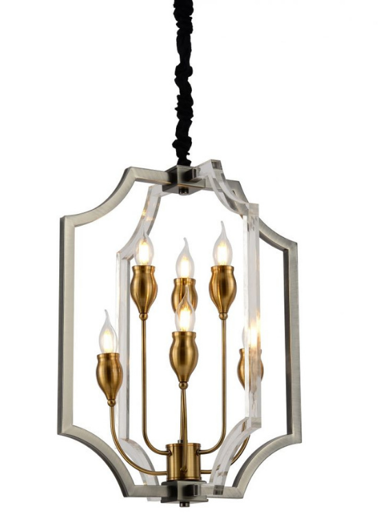 Lampade design da soffitto in cristallo e ottone con luci a forma di candela e cavo nero