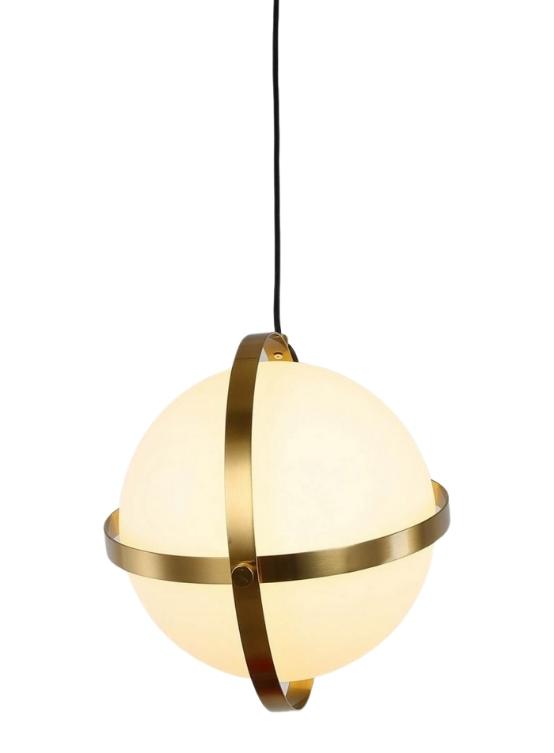 Lampade sfera vetro bianco ottone