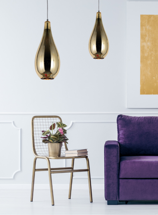 lampade sospensione moderne con vetro oro