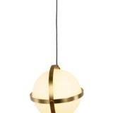 lampada sfera di vetro colore bianco con struttura in ottone e attacco al soffitto ottone