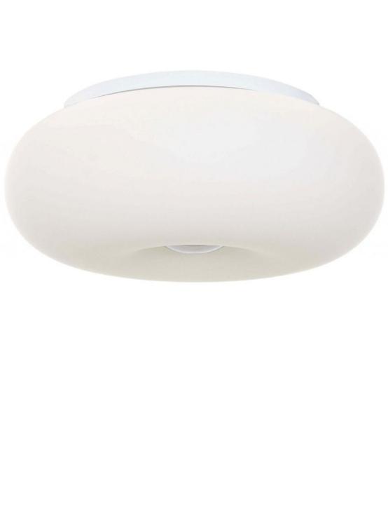 plafoniera bianca a forma di ciambella vetro satinato