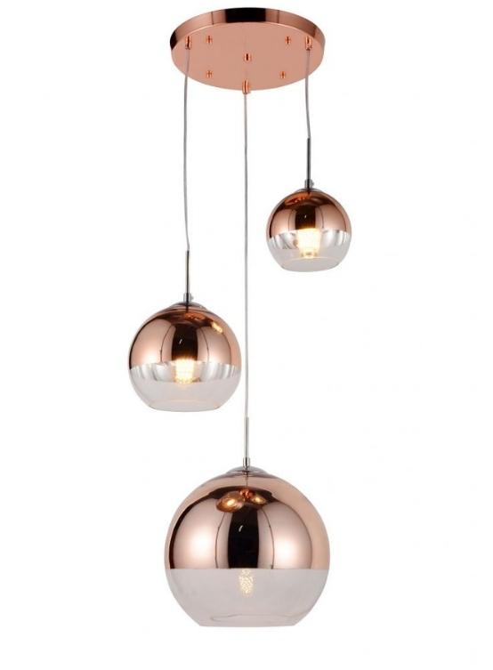 trio luci sfera vetro oro rosa in vetro doppio colore