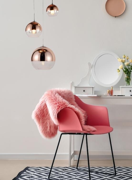 tris lampade palla di vetro oro rosa