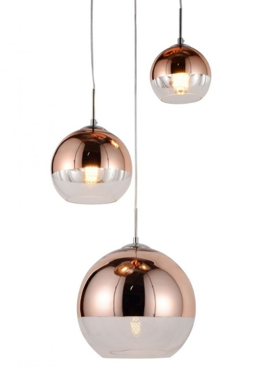 tris luci sfera vetro oro rosa con dimensioni diverse