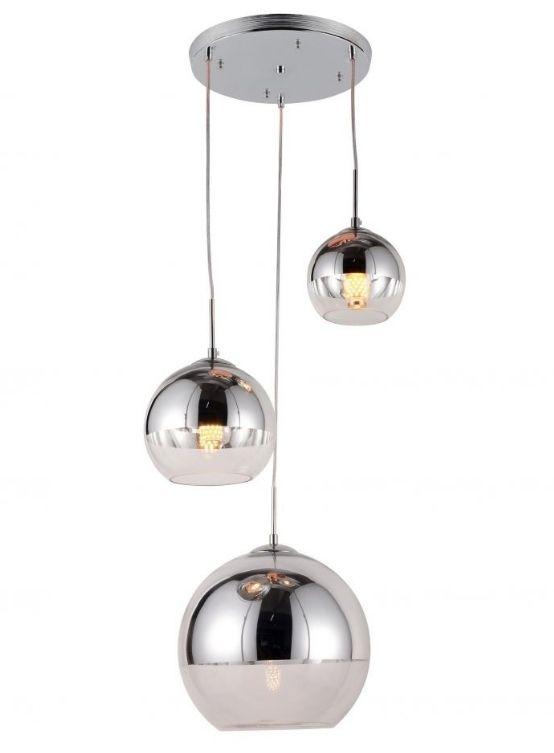Tris luci sferiche argento cromato in vetro