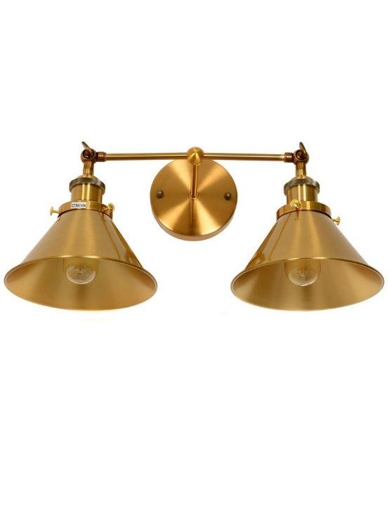 applique industriale vintage ottone due luci