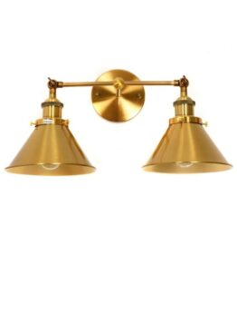 applique ottone vintage due luci a forma di cono