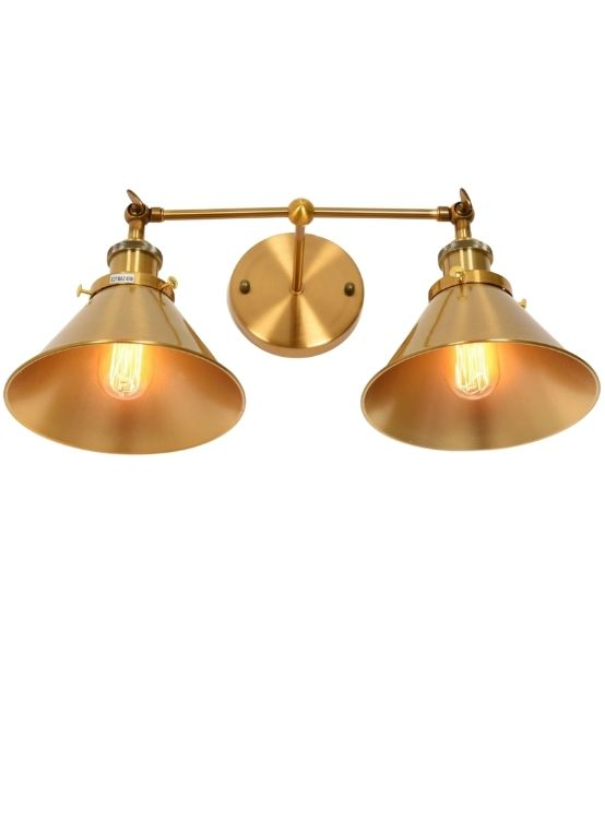 applique in stile industriale color ottone a due luci