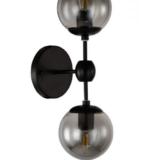 applique vintage da interno due punti luce con sfere di vetro grigio fumo e struttura nera