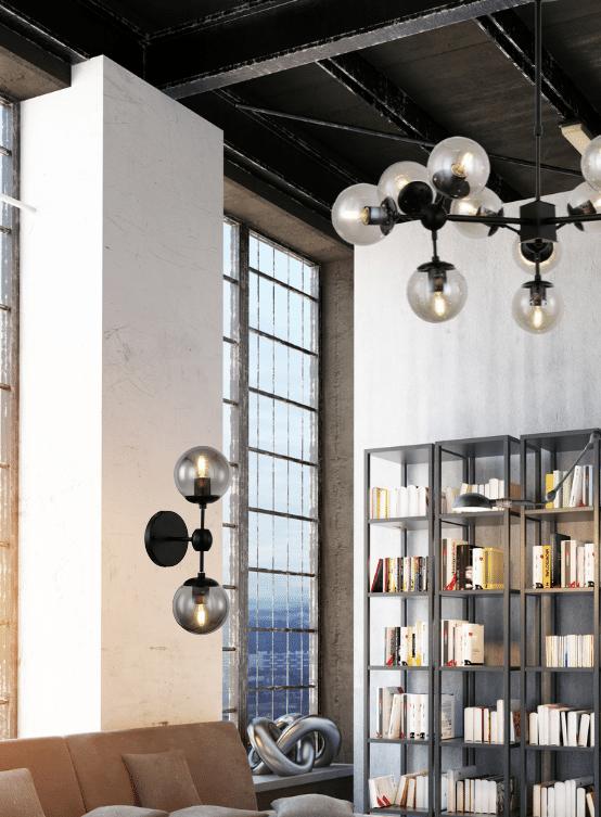 applique vintage due luci abbinata a lampadario coordinato con sfere vetro stile industriale
