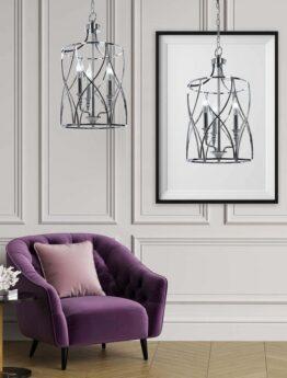 lampadario da soggiorno moderno in metallo cromato