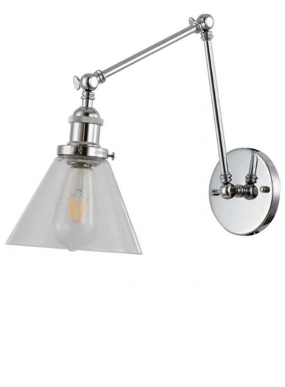 Lampada muro braccio flessibile paralume conico vetro regolabile