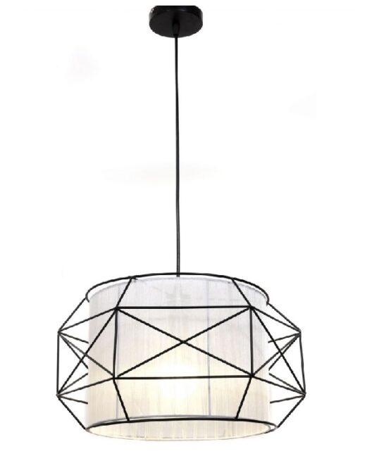 lampada scandinava bianca con struttura metallo
