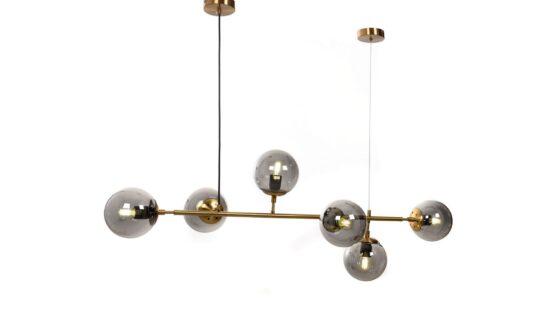 lampada da soffitto con sfere vetro e barra tubolare