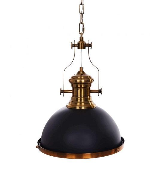 Lampada stile industriale a sospensione a forma di farlo nera e ottone