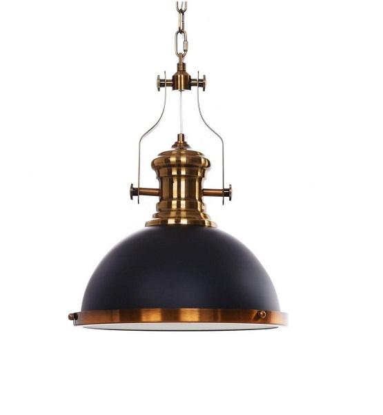 Lampada industrial design a forma di farlo nera e ottone