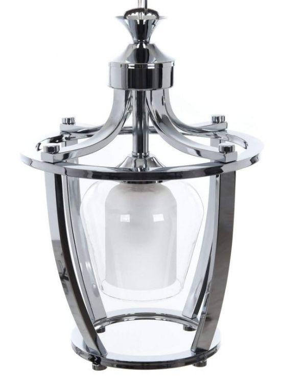 lampada moderna cromata con paralume vetro