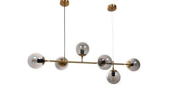 lampada a sospensione vintage sfere vetro e barra