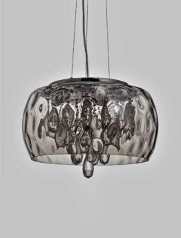 lampadario a sospensione con cristalli pendenti e paralume in vetro