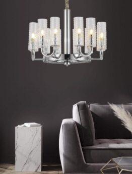 lampadari moderni per salotto paralumi in vetro e struttura cromata