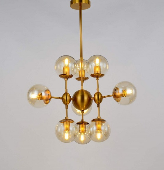 vintage illuminazione soffitto con lampada in ottone