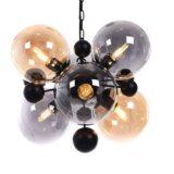 Lampada da soffitto industriale vintage 6 luci vetro e metallo nero