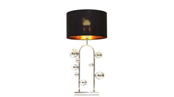 lampada camera da letto cromata con paralume nero
