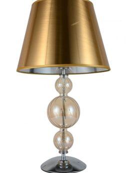 Lampada da comodino con paralume oro e struttura in vetro
