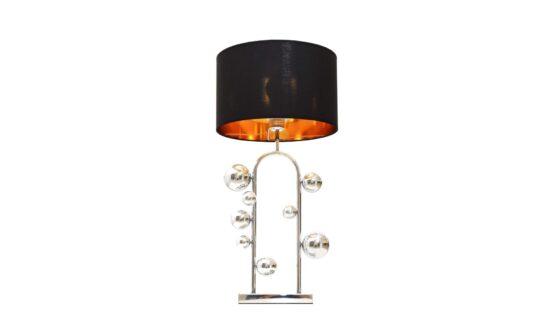 lampada di design da tavolo con paralume nero