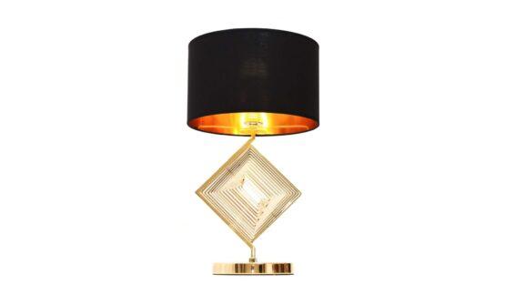 lampada da tavolo glamour con struttura oro e paralume nero