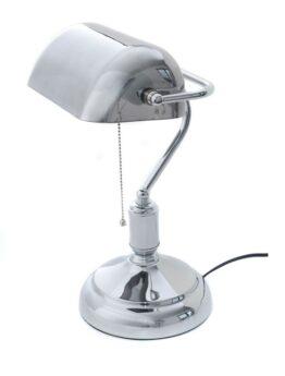 lampada scrivania argentata cromata