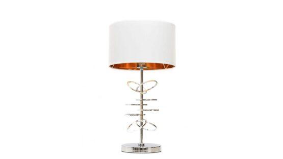 lampade da scrivania con struttura cromata e paralume bianco