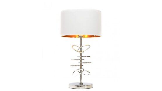lampade da comodino con struttura cromata e paralume bianco