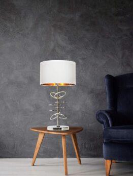 lampade da tavolo di design con struttura cromata e paralume bianco
