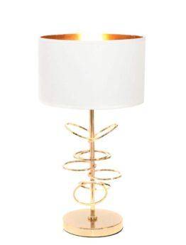 lampada da tavolo con struttura dorata e paralume bianco