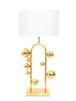 lampada da tavolo con paralume bianco e sfere dorate