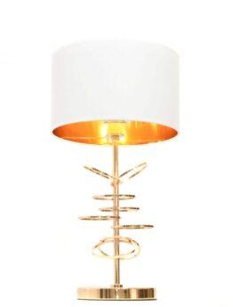 lampada da tavolo con struttura ad anelli di colore bianco