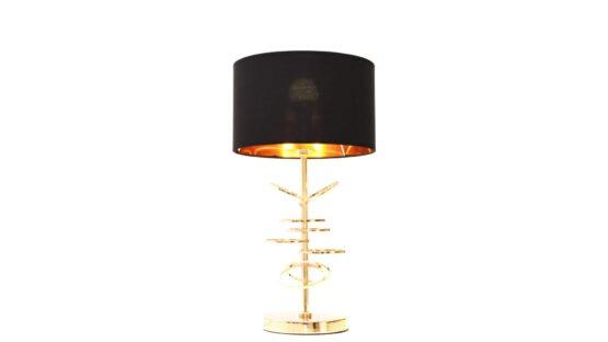 lampada tavolo vintage struttura oro paralume nero