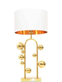 lampada da scrivania con paralume e sferette dorate