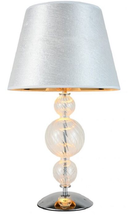 Lampada da tavolo con struttura in vetro trasparente e paralume in argento