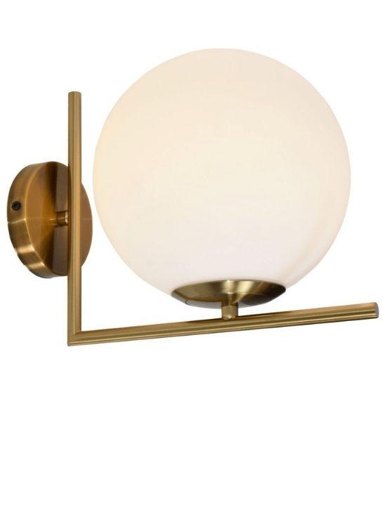 Lampada da parete moderne con sfera vetro opalina
