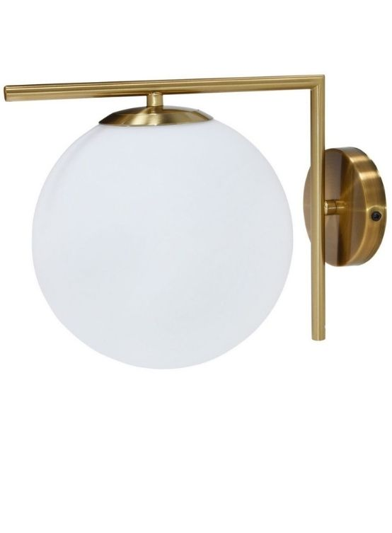 applique a palla di vetro opalino e struttura in otton