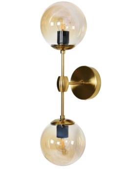lampada a parete vintage ottone due luci con vetro ambra